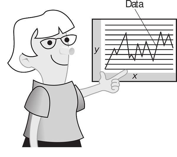 グラフの説明をする先生