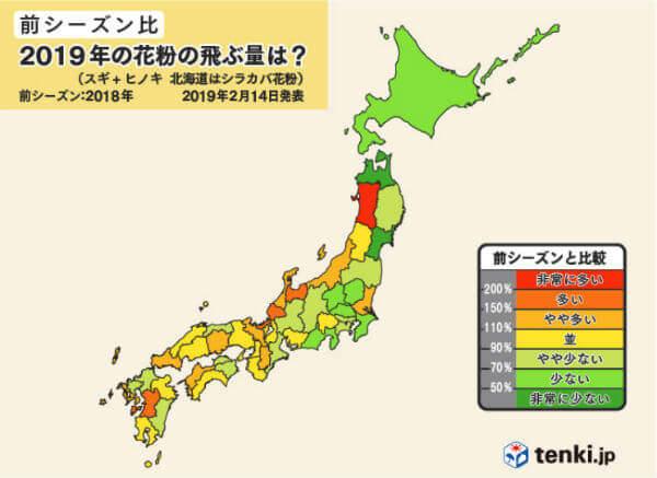 2019花粉飛散量(前シーズン比)